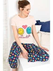Trend Alacati Style Women Black Printed Pajamas set ALC-X3967