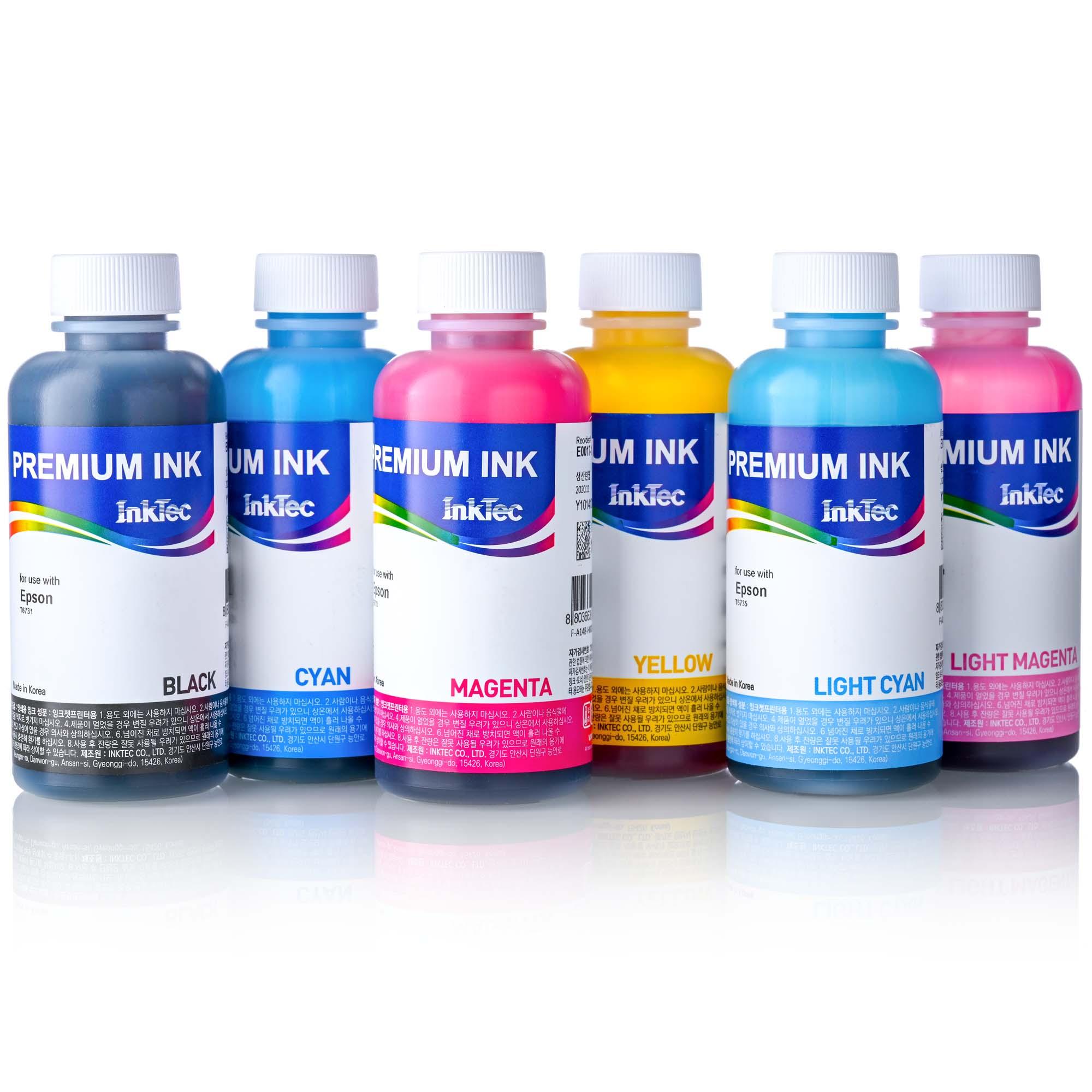 Чернила для принтера Epson L800, L805, L810, L815, L850, L855, L1800, InkTec 6 x 100 мл, комплект