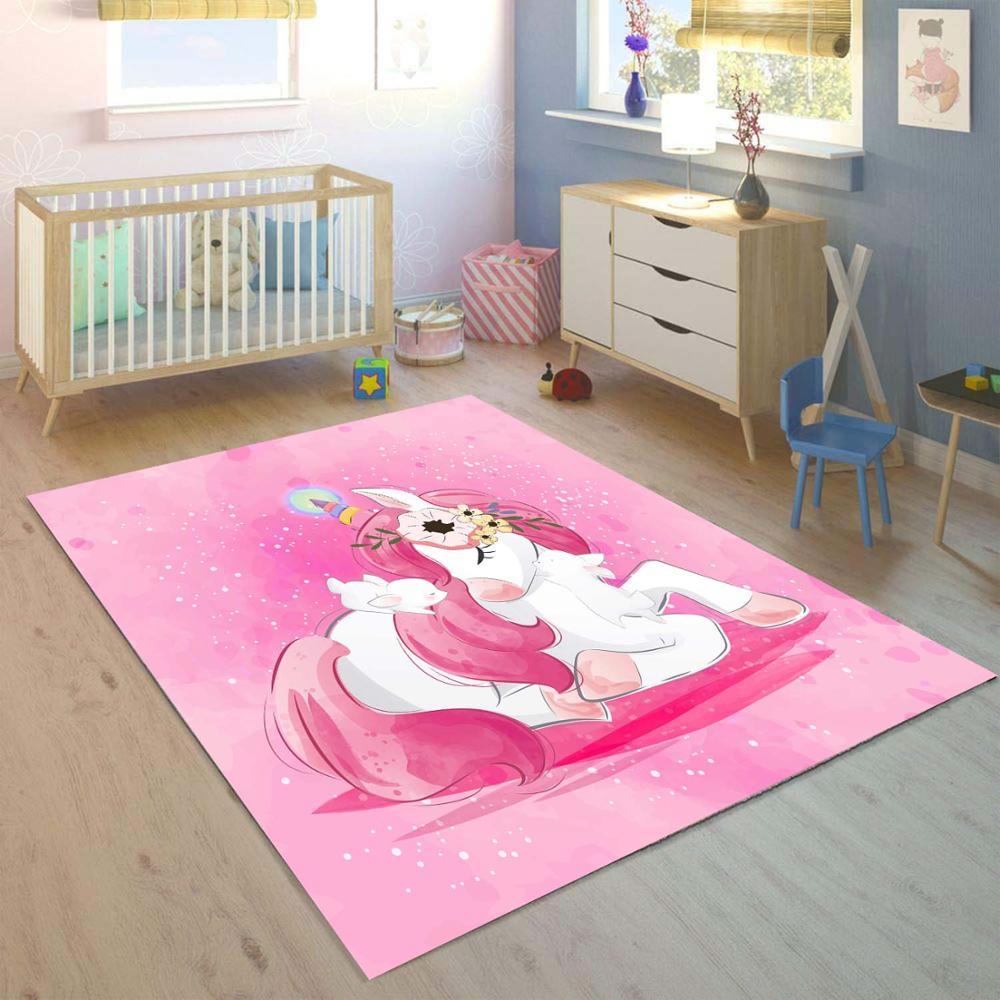 Else Pink Unicorn Horses Girls 3d Print Non Slip Microfiber Children Kids Room Decorative Area Rug Kids  Mat