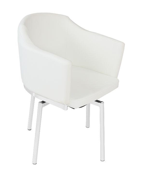 Armchair CHARLES, Chrome, Swivel Seat, Similpiel White