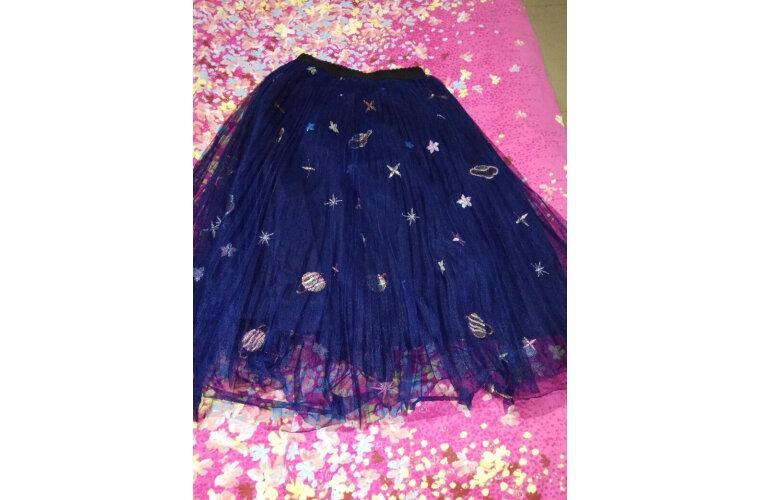 Vimly Mesh Midi Pleated Women Skirt Romantic Sequin Embroidery Tulle Midi Skirt Women Spring Summer Korean Elastic Waist Skirts photo review