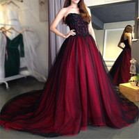 Sweetheart BlackLace Appliques Gothic Wedding Dresses Ball Gowns Custom Made Lace Up Back Bridal Gowns Vestidos De Mariee