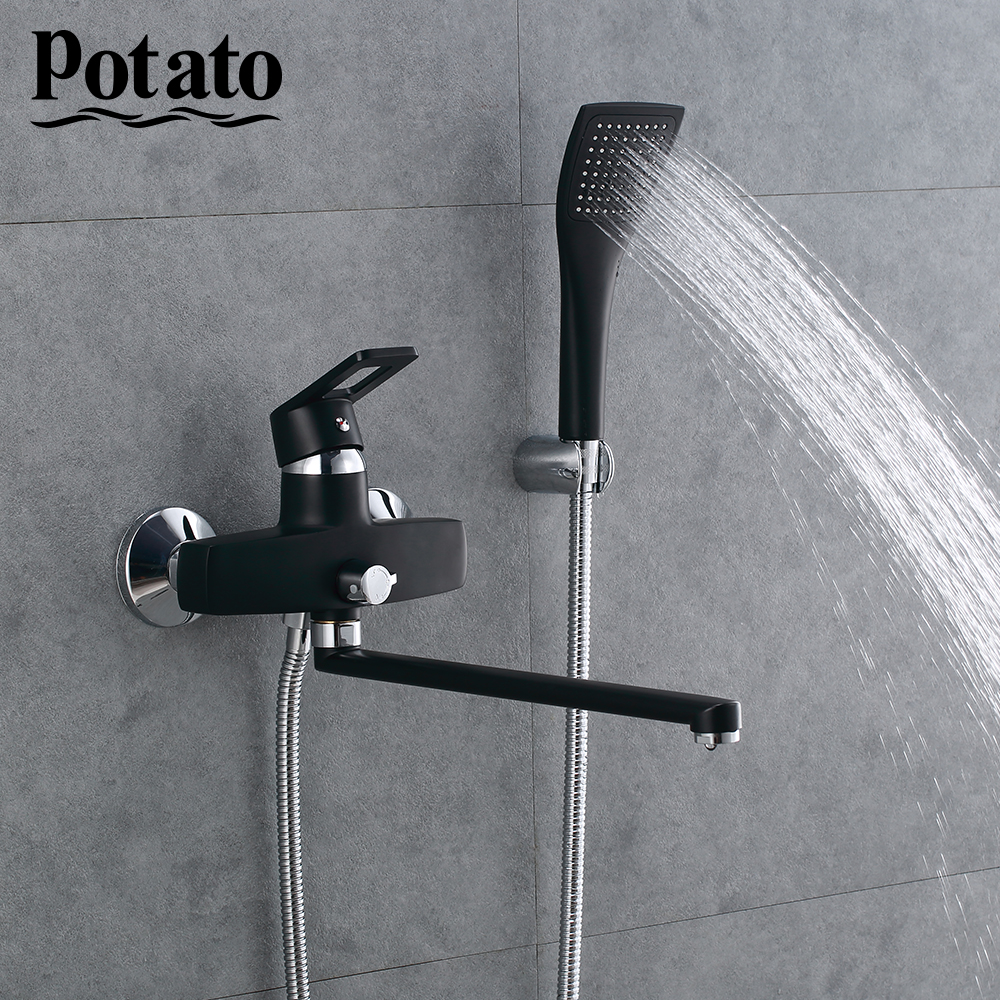 Potato Смеситель для душа, латунный кран для ванной, смеситель, ручная душевая головка, набор, настенный душевой набор, ванна, 2 цвета, p2230 |Смесители для душа|   | АлиЭкспресс