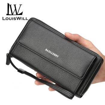 LouisWill Men Long Wallet Purse PU Leather Handbag Phone Wallet Large Capacity Card Holder Long Clutch Coin Purse Zipper Money