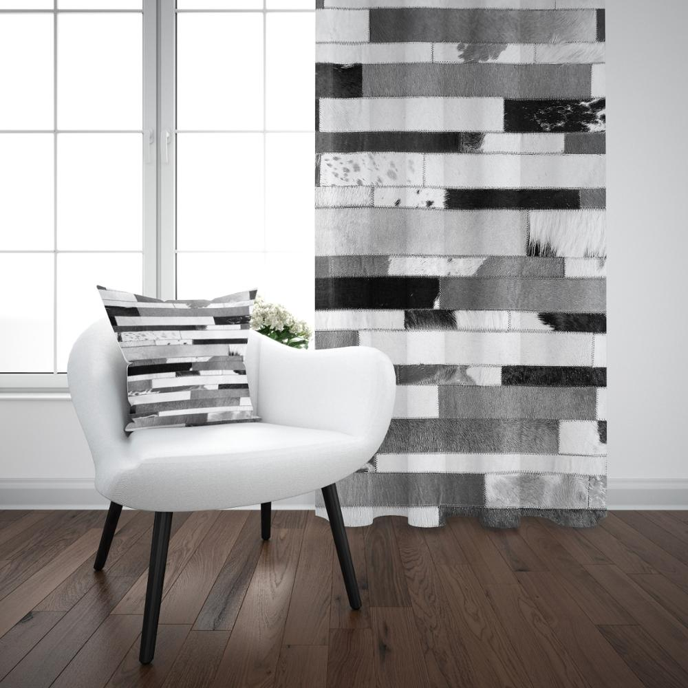Else Black Gray White Geometric Stripes Nordec Modern 3D Print Living Room Bedroom Window Panel Curtain Combine Gift Pillow Case