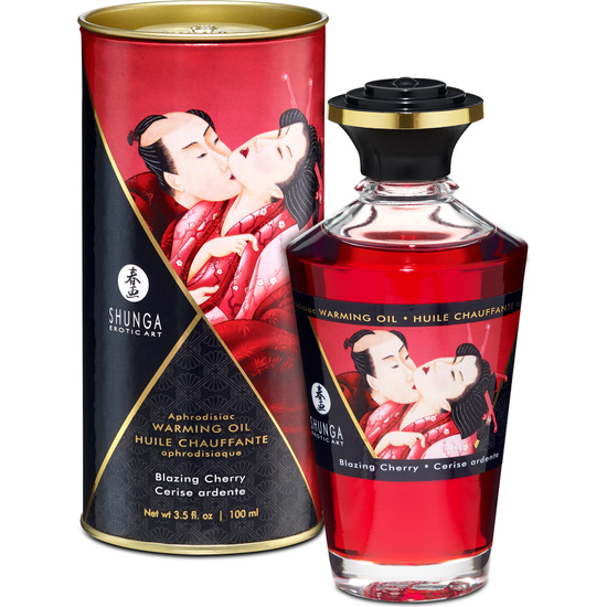 SHUNGA Shunga Oil Heat Effect 100 Ml Cherry DISCREET SHIPPING Material Antibacteirano
