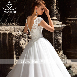 Image 3 - Beaded Appliques Wedding Dress 2020 Swanskirt Scoop Illusion Ball Gown Princess Court Train Bridal gown Vestido de noiva F223