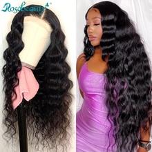 Rosabeauty объемная волна 13х4 кружевные передние парики предварительно выщипанные Детские Волосы бразильские человеческие волосы длинные круж...