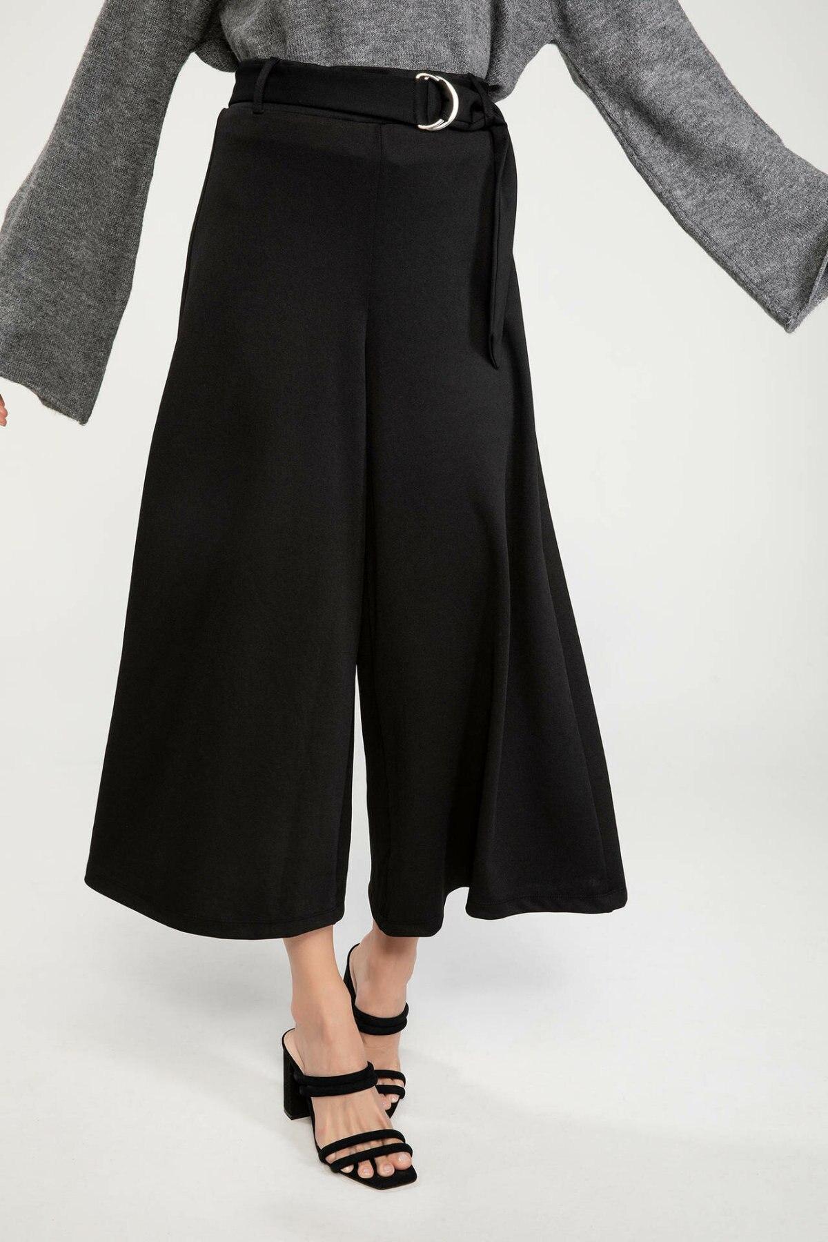 DeFacto Formal Office Loose Pants Woman Fashion Belt Black Trousers Ladies Elegant Comfort Crop Pant Autumn - J5734AZ18AU