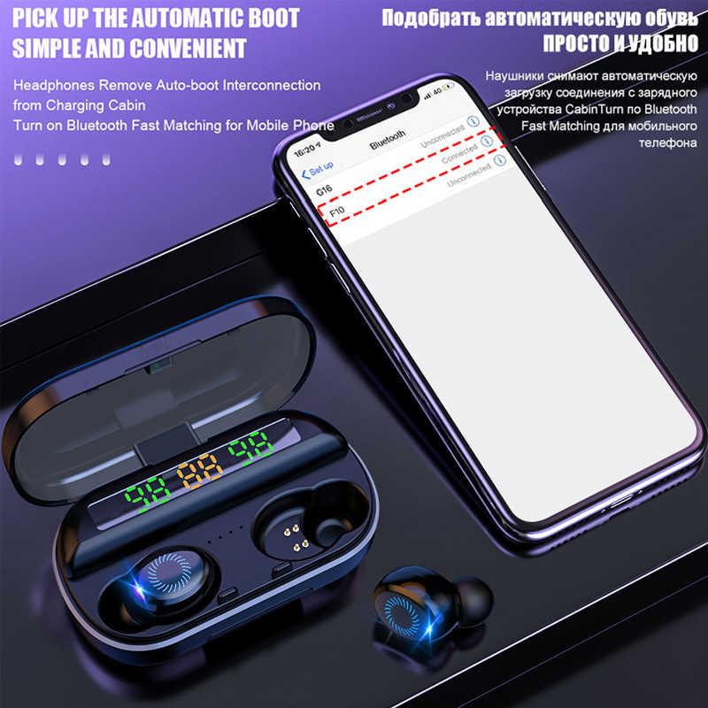 V10 Pro Bluetooth 5.0 אוזניות מיני אוזניות אלחוטיות עם מיקרופון רעש מבטל ספורט אוזניות אוזניות עבור iOS אנדרואיד