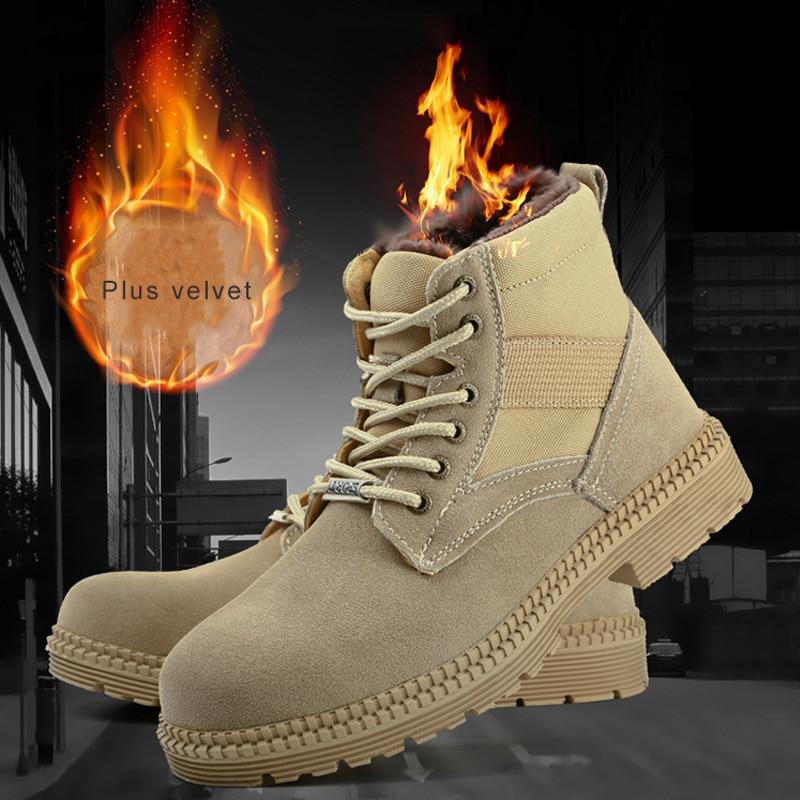 Winter Safety Steel Toe Work Boots Men Plus Velvet Super Warm Indestructible Anti Smashing Puncture Proof High Cut Shoes