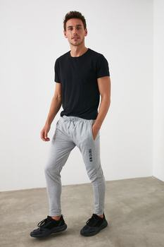 Gray Printed Men S Sweatpants Written New Season Autumn Sports Clothes Casual Clothing Cool Style