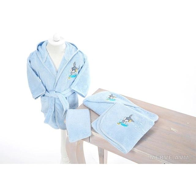Özdilek Newborn Male Baby Bamboo Bathrobe Set Bugs Bunny Blue 162575846