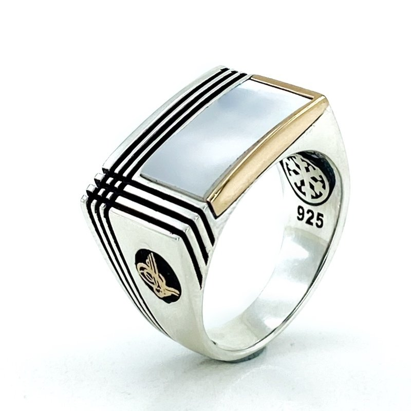 Square Pearl Natural Stone Top Quality Silver Men 'S Ring