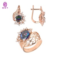 Jewelry qsy sets for women. beautiful women earrings with stones. Big wide ring with flower of zircons. pink color