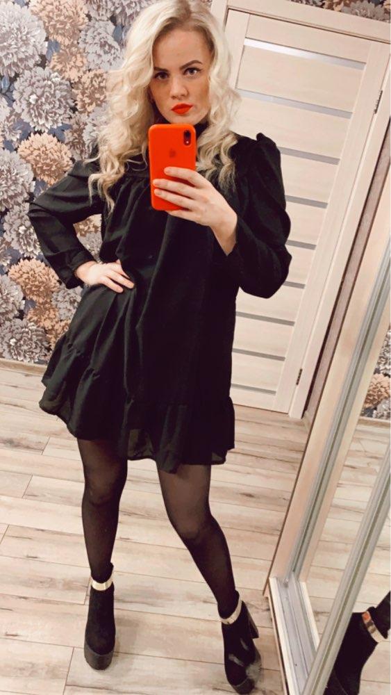Hot 2019 autumn new fashion women's temperament commuter puff sleeve small high collar natural A word knee Chiffon dress reviews №3 213