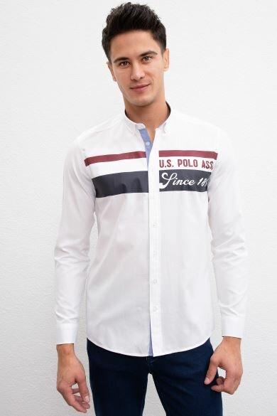 U.S. POLO ASSN. White Tournament Slim Shirt