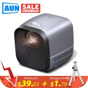 AUN-miniproyector portátil L1, proyector de vídeo LED para cine en casa, 1080P, pantalla de espejo para teléfono inteligente (opcional) 1