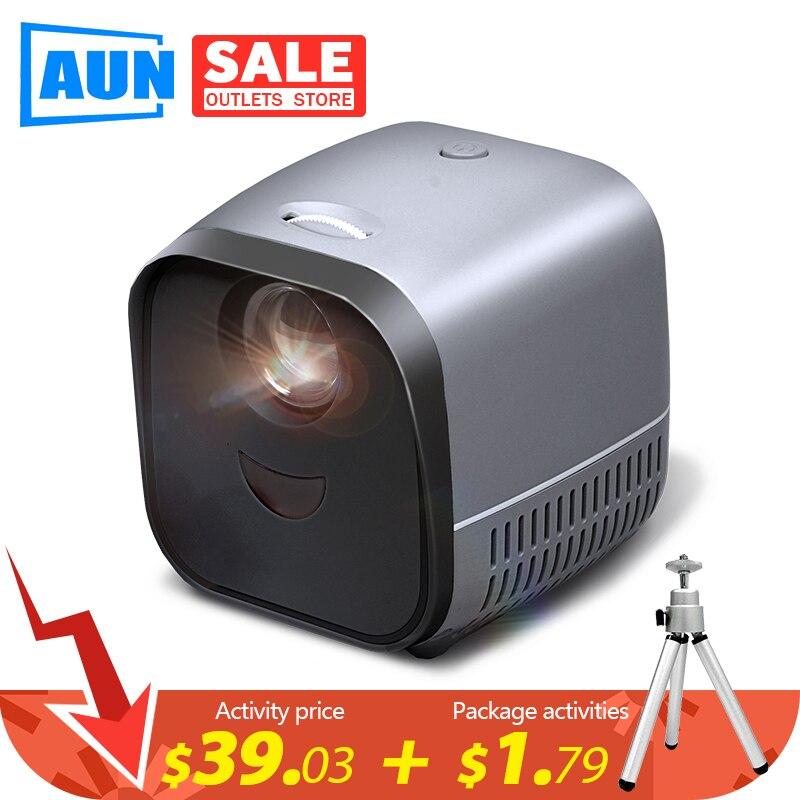 Портативный мини-проектор AUN L1   Светодиодный видеопроектор Beamer для домашнего кинотеатра 1080P   Зеркальный экран для смартфона (опционально)