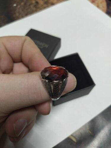 Bague pierre rouge sang en argent massif 925 à facettes