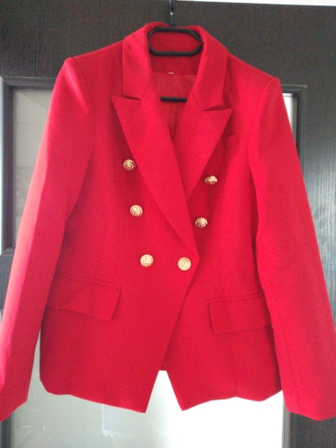 HarleyFashion European American Women Casual Blazer Double Breasted High Quality Plus Size Red Blazers reviews №1 115759