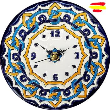 Ceramics Watch Spanish 17 cm/6.7 inch diameter - enameled up handmade - done in Spain - artecer - Home and decoration -