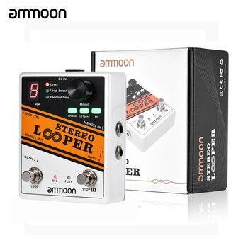 Ammoon looper estéreo pock loop efeito guitarra pedal 11 loopers max.330mins tempo de gravação suporta 1/2 & 2x velocidade pedal guitarra