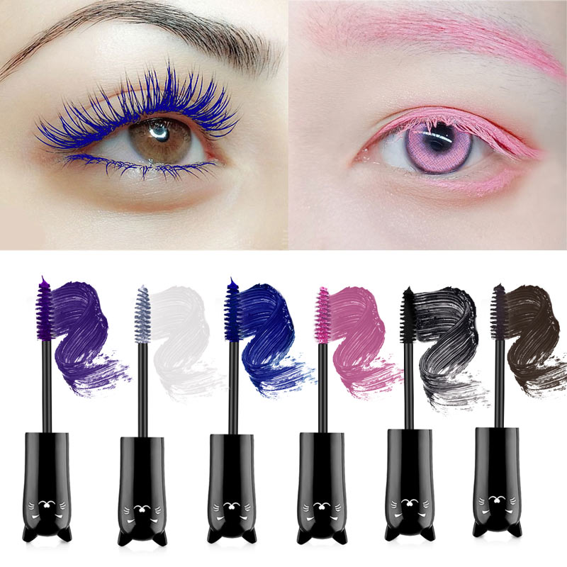 Multicolor <font><b>Mascara</b></font> Lange Curling <font><b>4D</b></font> silk fiber wimpern <font><b>mascara</b></font> Schönheit Make-Up Wimpern Wasserdichte Faser <font><b>Mascara</b></font> Hallowe Auge Wimpern image