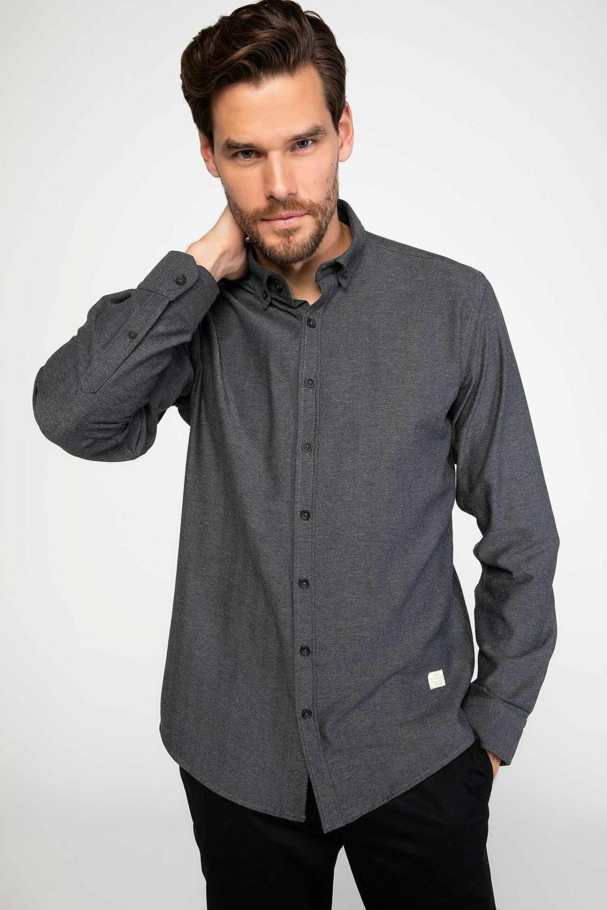 DeFacto New Autumn Man Fashion Gray Long Sleeve Shirt Male Casual Solid Comfort Blousers Men's Loose Shirts- J4176AZ18WN
