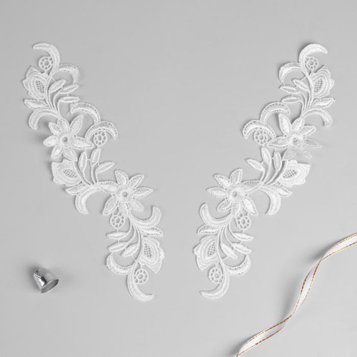 3557526 Appliques Sewing Lais Polyester 25,5*7 Cm White