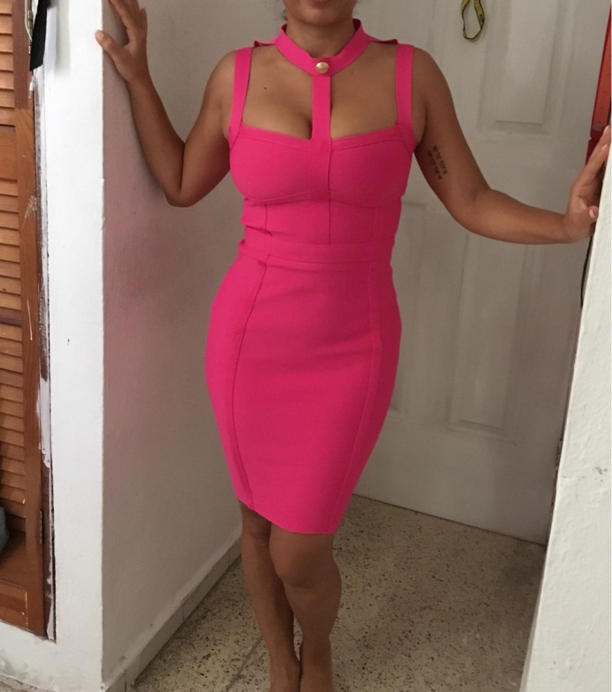 Arrival Summer Style Sexy Cut Out Button Bandage Dress Celebrity Designer Fashion Dress Vestidos photo review