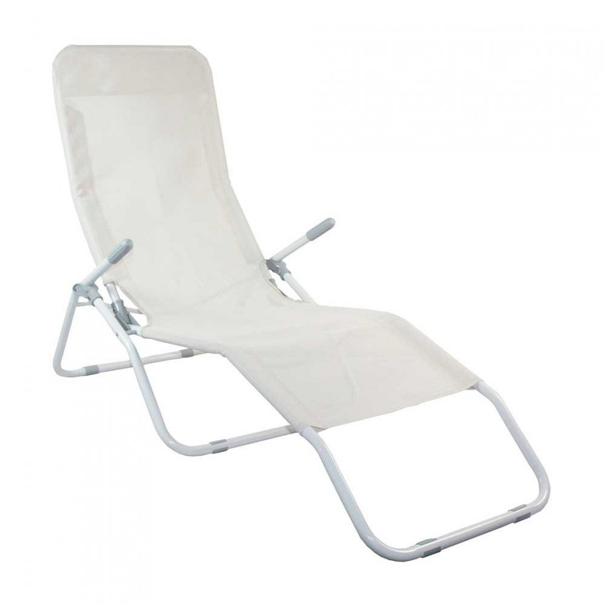 Lounger Adjustable 2 Positions Gray Textile GH91