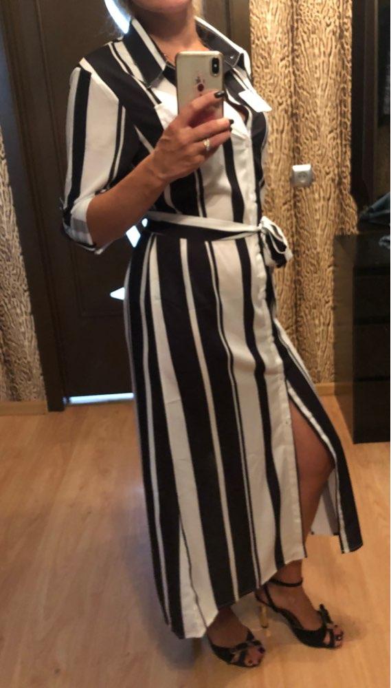 Stripe Maxi Dress Office Lady Turn Down Collar Button Long Shirt Dress Women Autumn Summer Long Sleeve Dress photo review