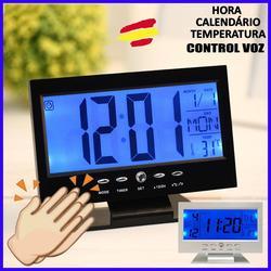 Relógio de pulso alarme lcd toque controle de voz calendário alarme de temperatura música