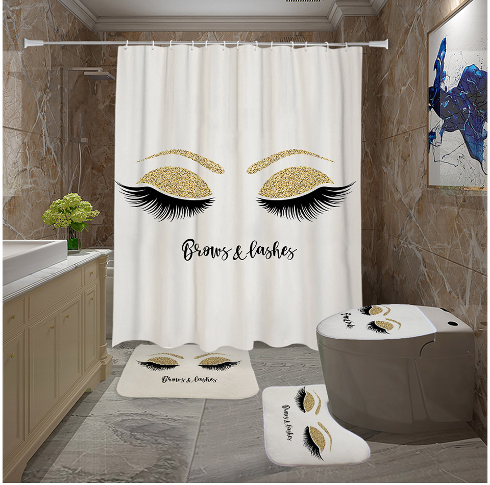 Eyelashes Print Bathroom Curtain Set With 12PCS Plastic Hooks For With Toilet Seat Cover 8