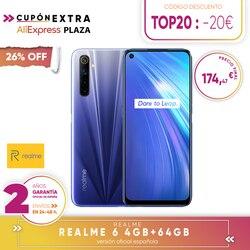 [Официальная гарантия испанской версии] смартфон Realme 6 4  64 ГБ, 6  128 ГБ, 8  128 ГБ, четыре камеры, ридер