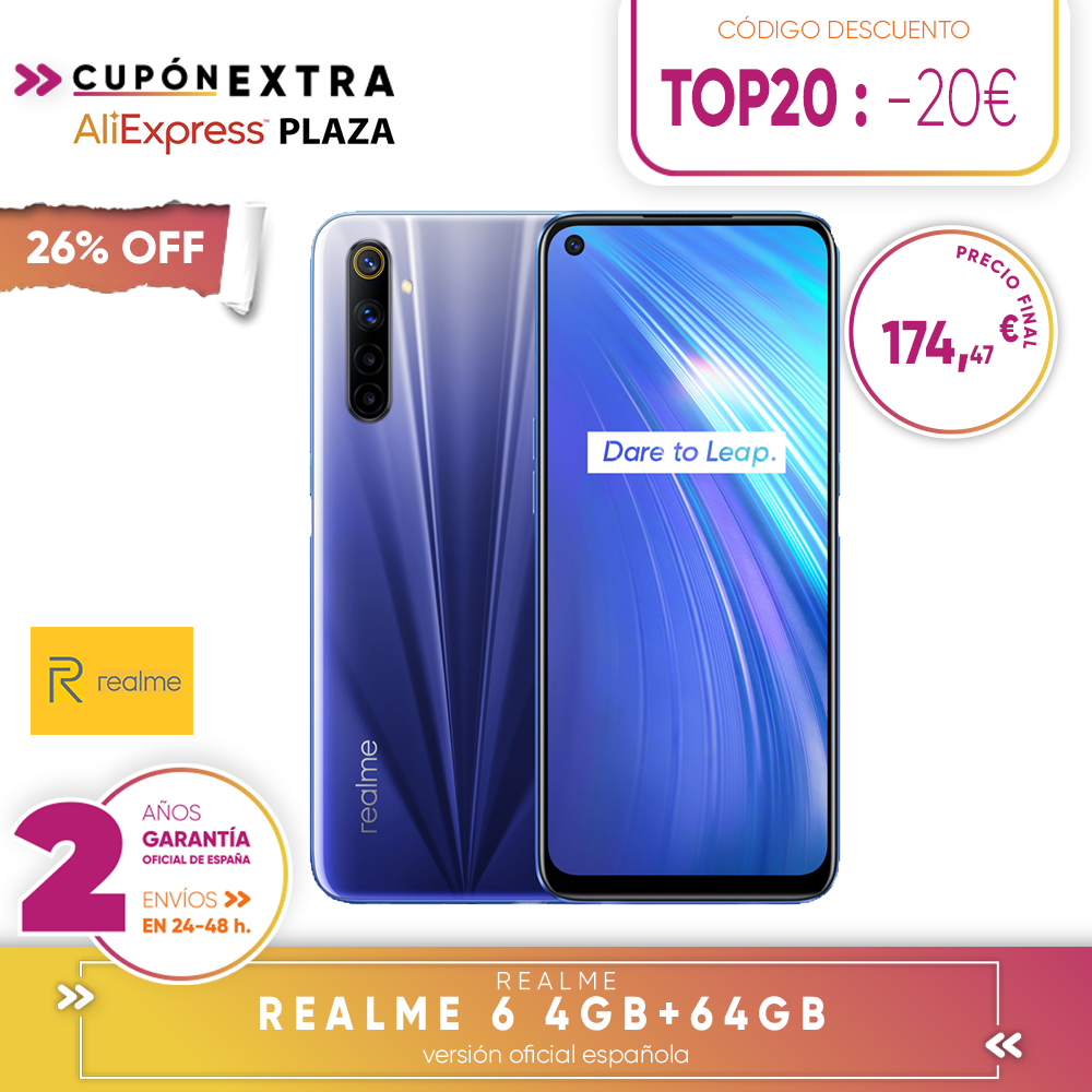[Official Spanish Version Warranty] Realme 6 4 + 64gb, 4 + 128gb, 8 + 128gb Smartphone Octa Core, Four Camaras, Reader Side Paw Prints