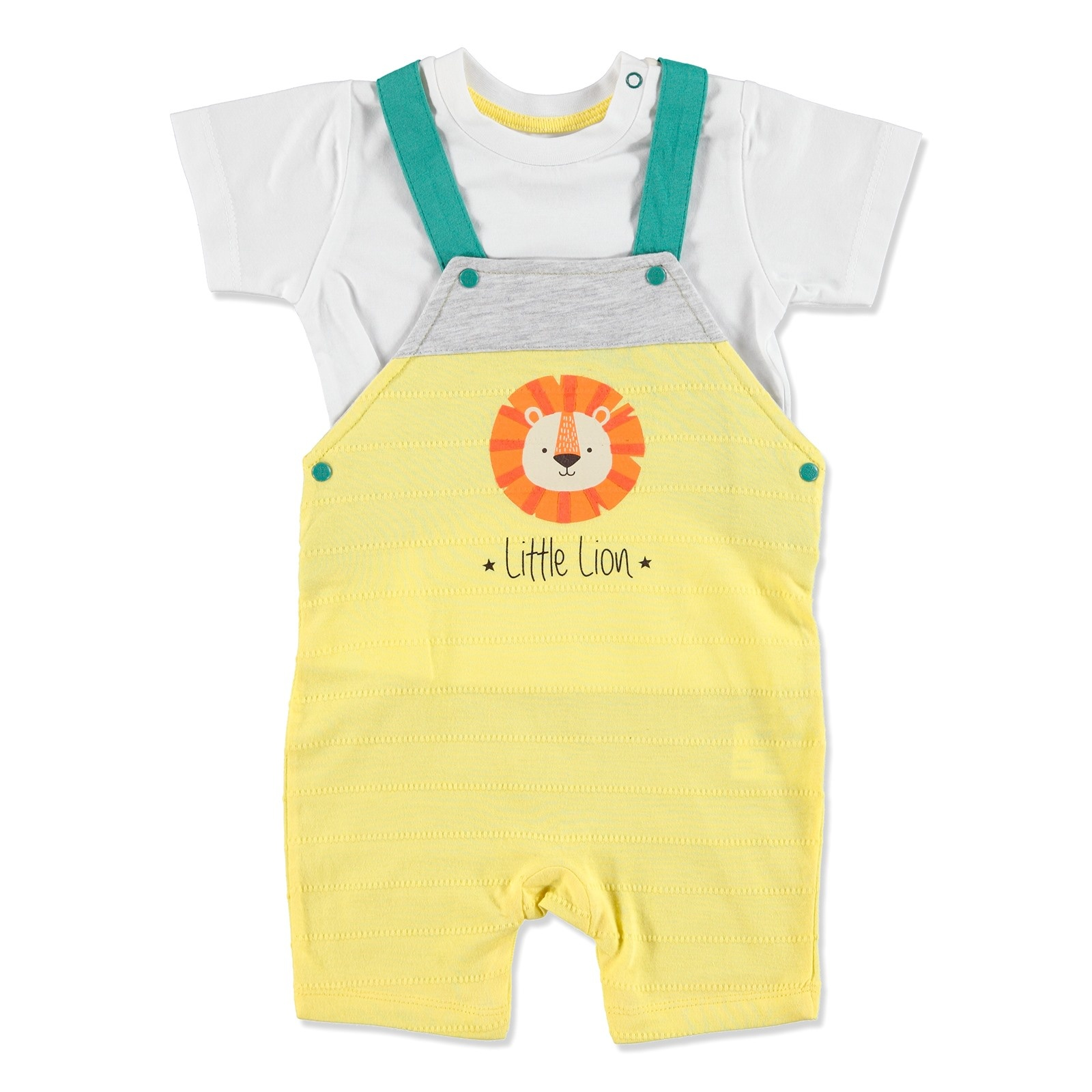 Ebebek HelloBaby Summer Baby Lion Cotton Short Sleeve Crew Neck Dungarees 2 Pcs
