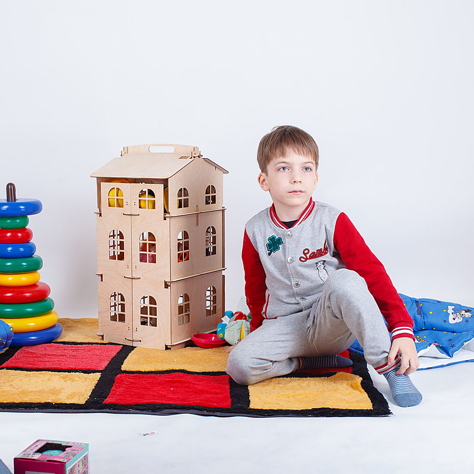 Dolls Home Toys house New Year Gifts Diy Doll House Miniature Wooden doll accessory block part puzzle Model Brithday Gift DFM-3d