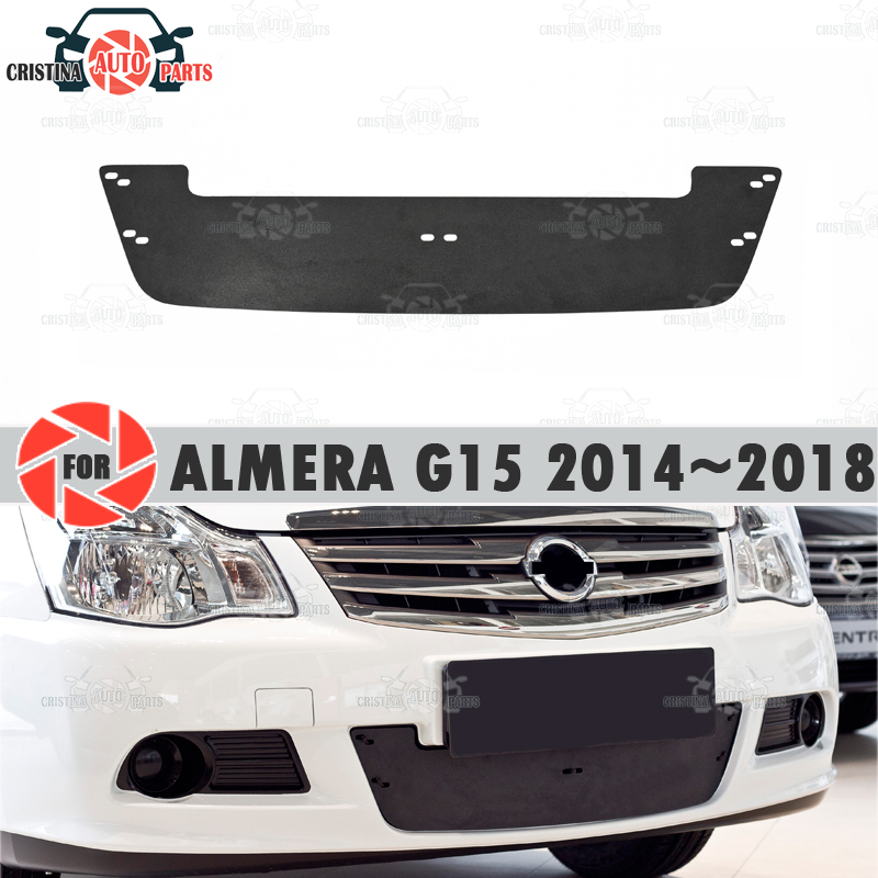 Winter Radiator Cap Voor Nissan Almera G15 2014 ~ 2018 Plastic Abs Reliëf Cover Bumper Auto Styling Accessoires Decoratie