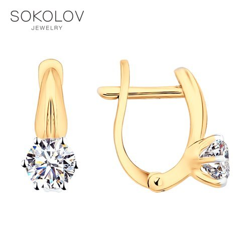 SOKOLOV Silver Drop Earrings With Stones With Stones With Stones With Stones With Stones With Stones With Stones With Swarovski Crystals Fashion Jewelry Silver 925 Women's Male