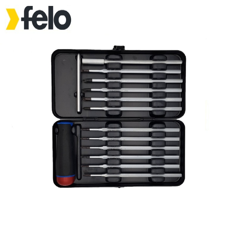 Felo Screwdriver with torque adjustment Series Nm 1,5-3,0 with a set of nozzles 12 pcs in a case 10099216 Used for installation a wunderer 24 etuden in allen tonarten
