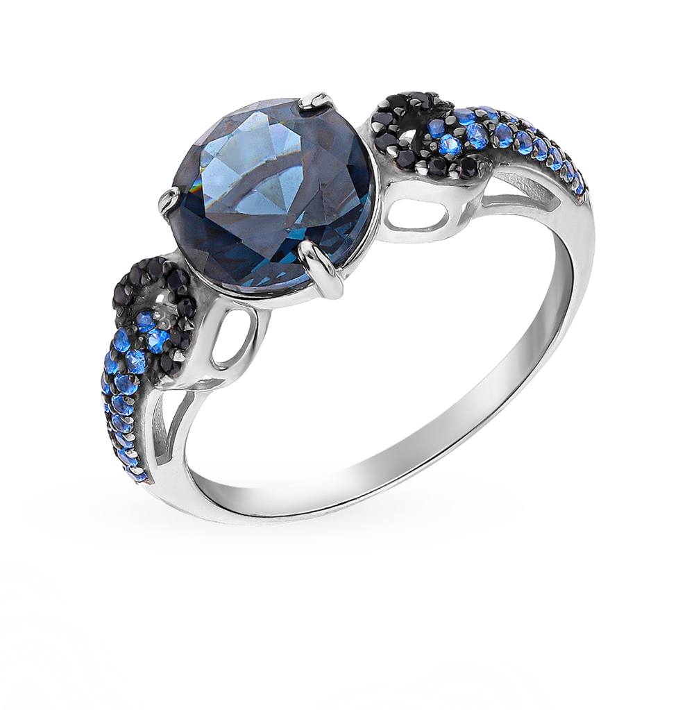 Silver Ring With Nano-crystals, Sapphires And Topaz Sunlight Sample 925