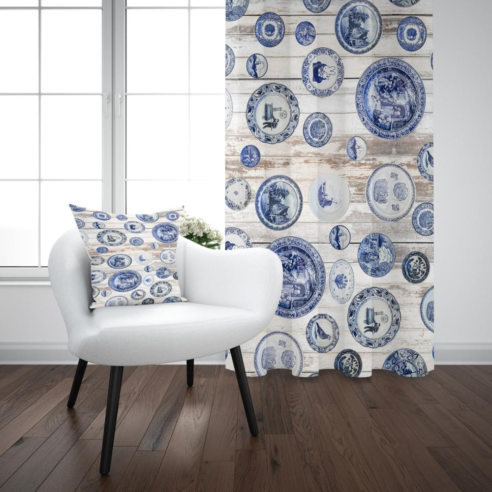 Else Blue White English Vintage Design 3D Print Living Room Bedroom Window Panel Curtain Combine Gift Pillow Case