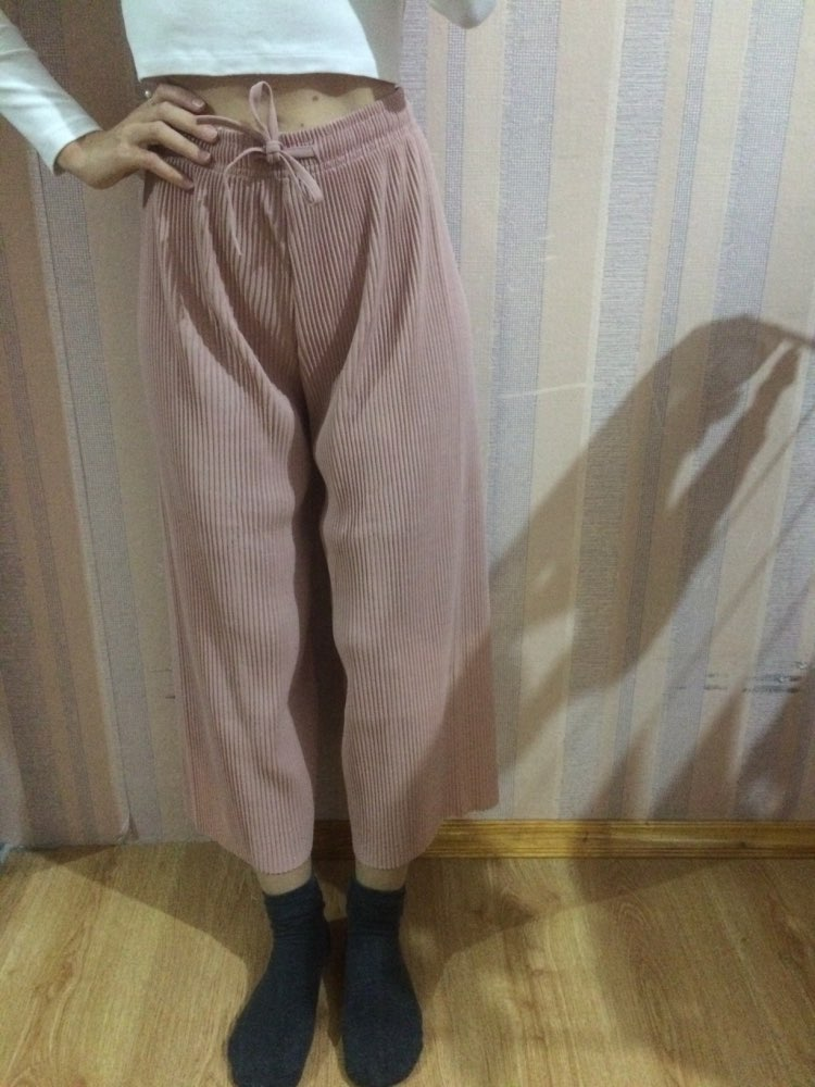 Pant Women Girl Solid Color Pleated Wide Leg Female Summer High Waist Chiffon Long Students Korean Fashion Casual Pants photo review