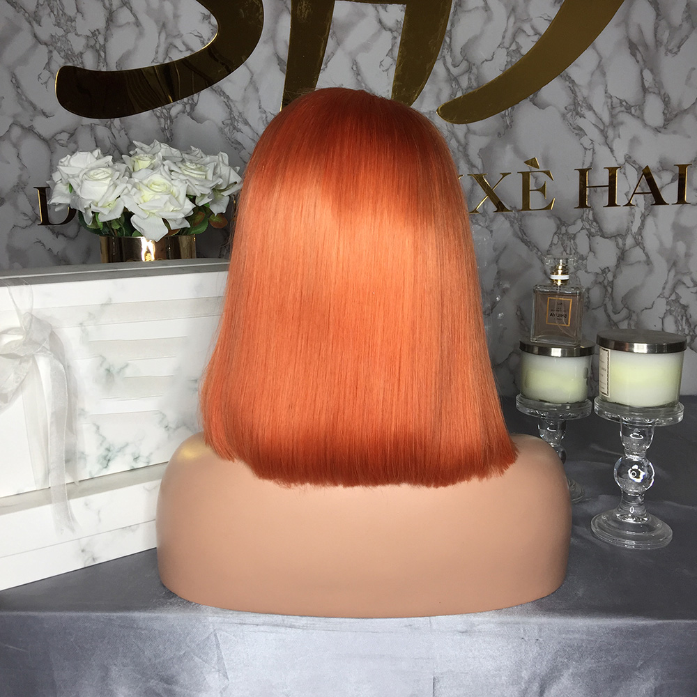 U62f312418f4a4b04b6da847ab623d9f9p JRX Hair Orange Pre-Colored Lace Front Wig 100% Human Hair Bob Wig Colored Pre Plucked Brazilian 13*4 Lace Front Wigs