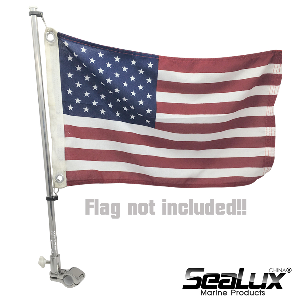 Sealux Marine Grade Stainless Steel 304 Flag Pole For ϕ22.2mm And ϕ25.4mm Rail Boat Yacht Car RV Fishing Marine Accessories