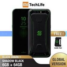هاتف شاومي أسود اللون إصدار عالمي 1 ذاكرة داخلية 64 جيجابايت وذاكرة وصول عشوائي 6 جيجابايت للألعاب (جديد تمامًا/مختوم) هاتف blackshark1 ، هاتف blackshark الذكي