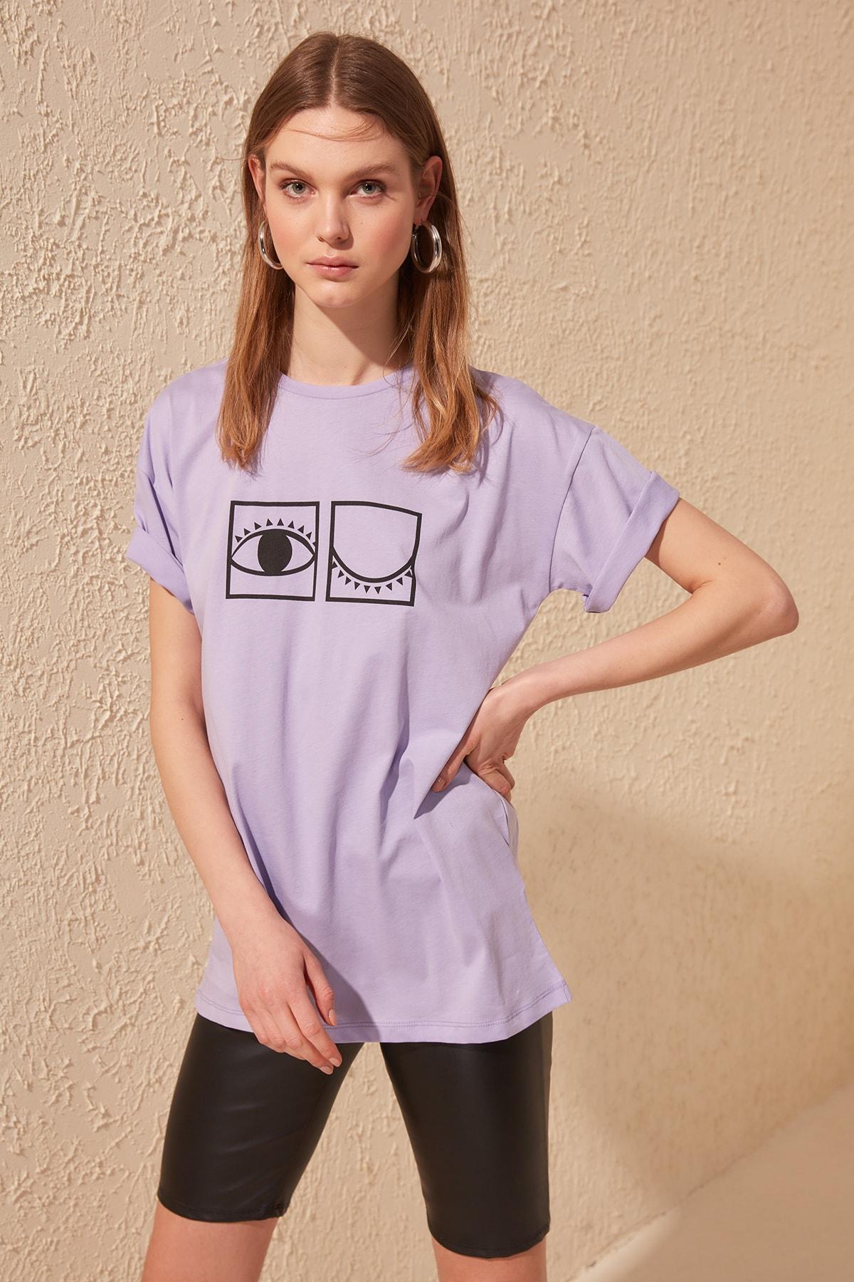 Trendyol Printed Boyfriend Knitted T-Shirt TWOSS20TS0200