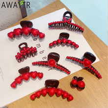 New Women Elegant Lucky Red Heart Cherry Pearls Barrettes Hair Claws Sweet Hair Clips Headband Hairpins Fashion Hair Accessories